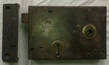 Victorian steel & brass rim lock with keep. - Door Furniture & Hardware – Abergavenny Reclamation